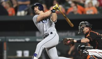FILE - In this Sept. 22, 2017, file photo, Tampa Bay Rays' Evan Longoria follows through on a solo home run against the Baltimore Orioles in the third inning of a baseball game, in Baltimore. The San Francisco Giants have acquired infielder Evan Longoria and cash from the Tampa Bay Rays for outfielder Denard Span, infielder Christian Arroyo and two minor league pitchers. The teams announced the moves Wednesday, Dec. 20, 2017. (AP Photo/Gail Burton, File) **FILE**