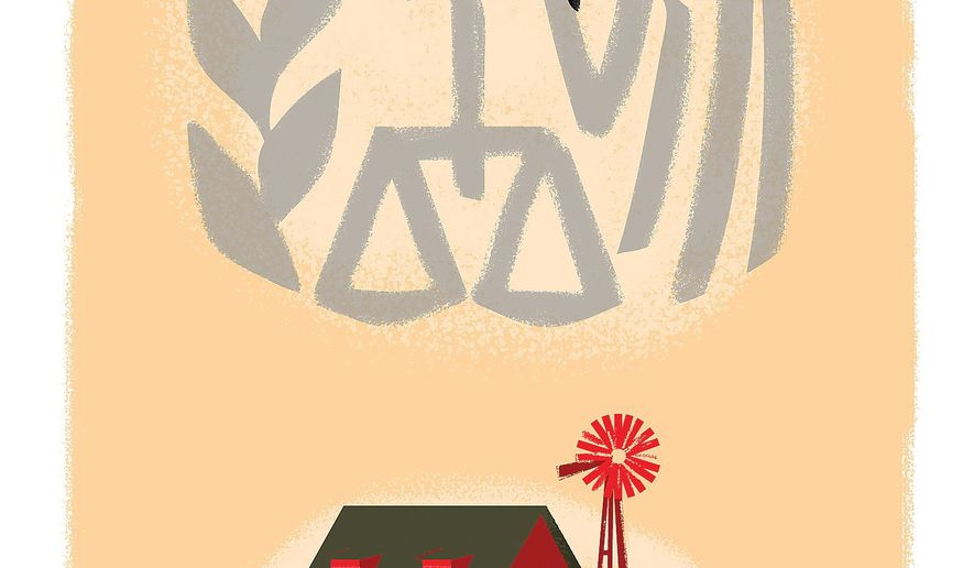 Illustration on the Reaganesque qualities of the new tax cut legislation by Linas Garsys/The Washington Times
