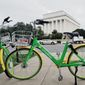 LimeBike of San Mateo, California, is one of four dockless bike-sharing firms the District Department of Transportation is hosting in a seven-month pilot program. Dockless bikes do not need to chained or parked in a specific location. They use a self-locking mechanism that can be accessed by a smartphone app. (Julia Airey/The Washington Times)