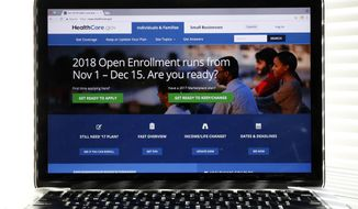 In this Oct. 18, 2017 photo, the Healthcare.gov website is seen on a computer screen in Washington. (AP Photo/Alex Brandon) ** FILE **