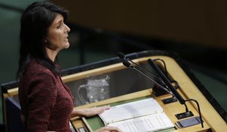 "U.S. Ambassador to the United Nations Nikki Haley bluntly warned that the U.S. would be ""taking names"" of countries that accept American aid and support but would not back Washington in the vote. (Associated Press)"
