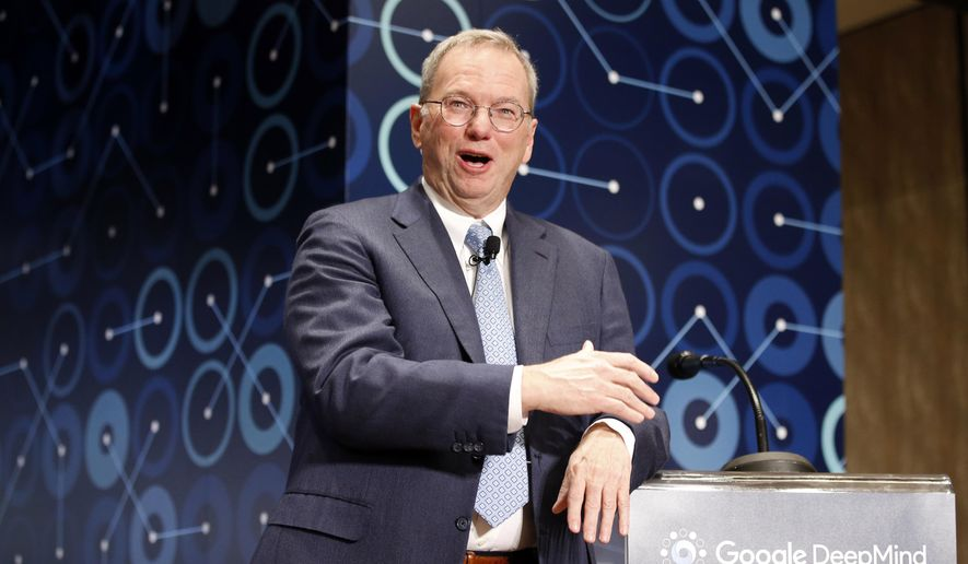 In this March 8, 2016, file photo, Eric Schmidt, executive chairman of Alphabet speaks during a press conference ahead of the Google DeepMind Challenge Match in Seoul, South Korea. Schmidt is stepping down as the executive chairman of Google parent Alphabet in January 2018. The company says he will become a technical adviser and will continue to sit on the board. (AP Photo/Lee Jin-man, File)