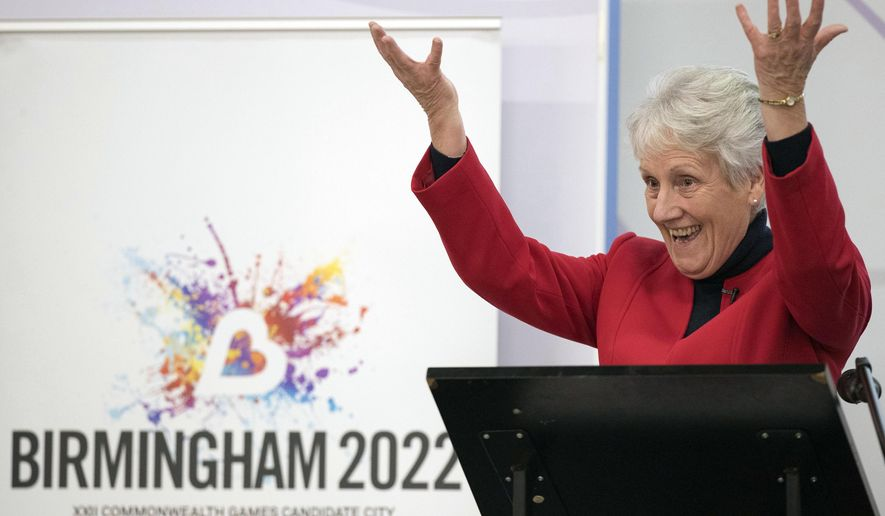 Commonwealth Games Federation, (CGF) President Louise Martin gestures, during a Commonwealth Games Federation Media Conference at the Arena Academy in Birmingham, England, Thursday, Dec. 21, 2017. The central English city of Birmingham was picked Thursday as the replacement host of the Commonwealth Games in 2022, nine months after Durban was stripped of the multisports event because of financial difficulties. (Aaron Chown/PA via AP)