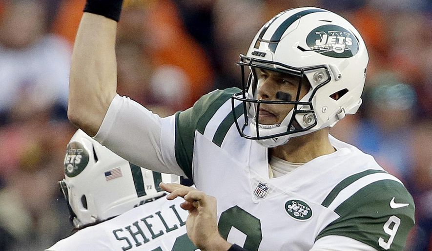 FILE - In this Sunday, Dec. 10, 2017, file photo, New York Jets quarterback Bryce Petty (9) throws against the Denver Broncos during the second half of an NFL football game in Denver. The Jets saw their playoff hopes end with a 31-19 loss at New Orleans last Sunday. They play the Chargers on Sunday. (AP Photo/Jack Dempsey, File)