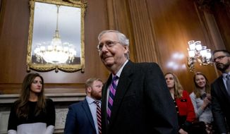 Senate Majority Leader Mitch McConnell of Ky., arrives to sign the final version of the GOP tax bill during an enrollment ceremony at the Capitol in Washington, Thursday, Dec. 21, 2017. (AP Photo/Andrew Harnik)