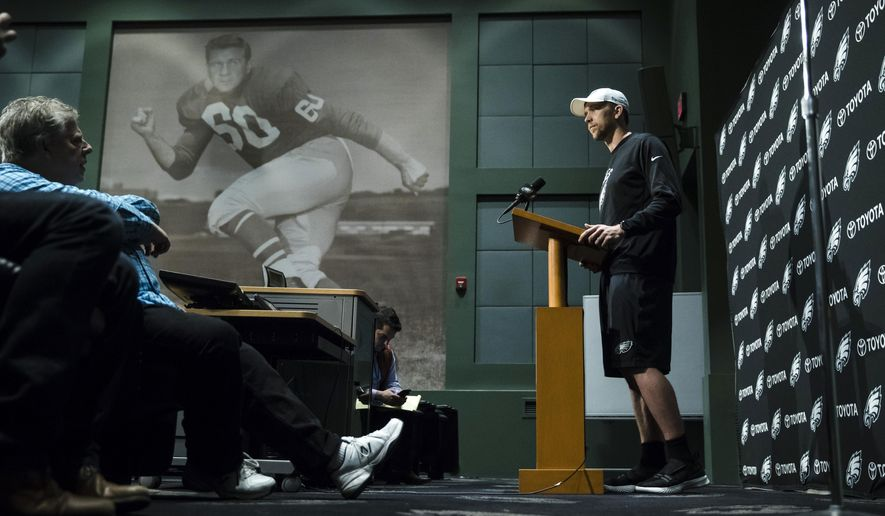 Philadelphia Eagles quarterback Nick Foles speaks with members of the media during a news conference at the team's NFL football training facility in Philadelphia, Wednesday, Dec. 20, 2017. (AP Photo/Matt Rourke)