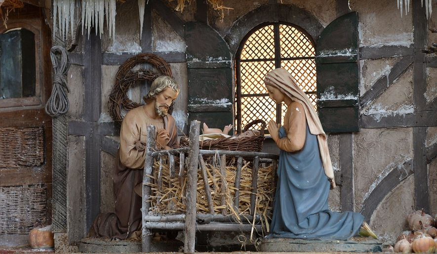 A nativity scene sits on display at the First Presbyterian Church of the Covenant, Wednesday, Dec. 7, 2017. (Christopher Millette/Erie Times-News via AP)  ** FILE **