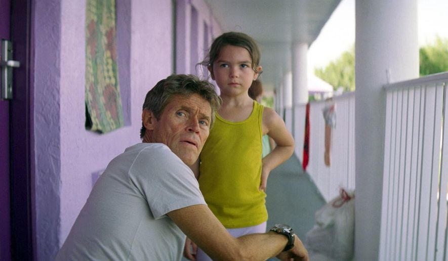 "This image released by A24 shows Willem Dafoe, left, and Brooklynn Prince in a scene from ""The Florida Project.""  Dafoe was nominated for a Golden Globe for best supporting actor in a motion picture for his role in the film. (A24 via AP)"