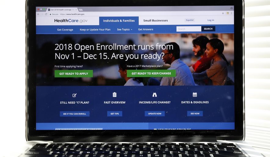 In this Oct. 18, 2017 photo, the Healthcare.gov website is seen on a computer screen in Washington. The government says about 8.8 million people have signed up for coverage next year under the Affordable Care Act. A deadline surge last week appears to account for the surprisingly strong numbers.  (AP Photo/Alex Brandon)