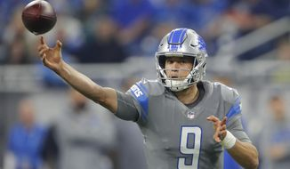 FILE - In this Dec. 16, 2017, file photo, Detroit Lions quarterback Matthew Stafford (9) throws against the Chicago Bears during an NFL football game in Detroit. The Lions play the down-and-out bengals on Sunday. (AP Photo/Paul Sancya, File)