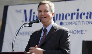"FILE- In this Aug. 30, 2016, file photo, Sam Haskell, left, CEO of Miss America Organization, speaks during Miss America Pageant arrival ceremonies in Atlantic City, N.J. On Thursday Dec. 21, 2017, the Huffington Post published emails it obtained that show Haskell and others from the Miss America Organization commenting harshly on past winners' appearance, intellect and sex lives. Dick Clark Productions, the pageant's TV production partner, severed ties with the Miss America Organization over the emails, which it termed ""appalling."" (AP Photo/Mel Evans, File)"