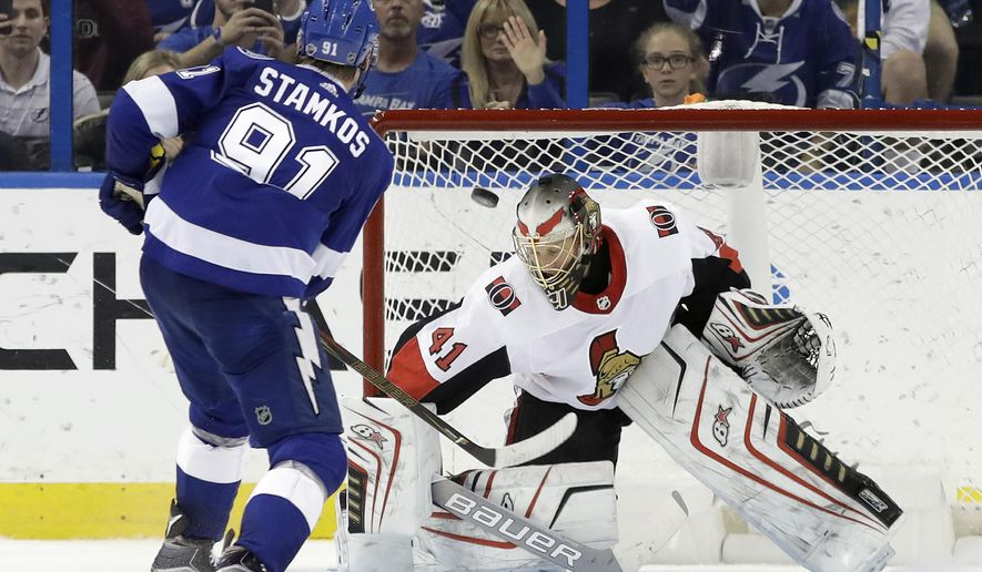 Tampa Bay Lightning center Steven Stamkos (91) fires the puck past Ottawa Senators goalie Craig Anderson (41) for a shootout goal during an NHL hockey game Thursday, Dec. 21, 2017, in Tampa, Fla. The Lightning won the game 4-3. (AP Photo/Chris O'Meara)