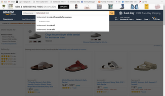 Screen shot of Birkenstock search at Amazon.com