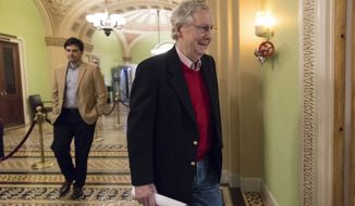 Ready to leave for the Christmas recess, Senate Majority Leader Mitch McConnell, R-Ky., walks to a news conference to discuss the GOP agenda for next year and and his accomplishments in the first year of the Trump Administration, on Capitol Hill in Washington, Friday, Dec. 22, 2017.  (AP Photo/J. Scott Applewhite)