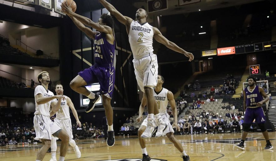 Alcorn State guard Troymain Crosby (23) drives ahead of Vanderbilt guard Joe Toye (2) in the first half of an NCAA college basketball game Friday, Dec. 22, 2017, in Nashville, Tenn. (AP Photo/Mark Humphrey)