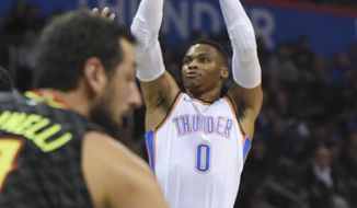 Oklahoma City Thunder's Russell Westbrook (0) shoots in the first quarter of an NBA basketball game against the Atlanta Hawks in Oklahoma City, Friday, Dec. 22, 2017. (AP Photo/Kyle Phillips)