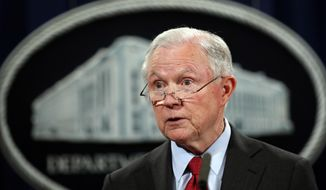In this Dec. 15, 2017, file photo, United States Attorney General Jeff Sessions speaks during a news conference at the Justice Department in Washington. (AP Photo/Carolyn Kaster, File)