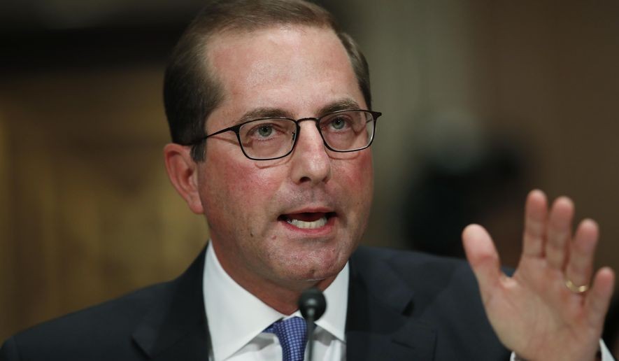 FILE- In this Nov. 29, 2017, file photo, Alex Azar, President Donald Trump's nominee to become Secretary of Health and Human Services, testifies during a Senate Health, Education, Labor and Pensions Committee confirmation hearing on Capitol Hill in Washington. The Senate has left town for the year without acting on dozens of President Donald Trump's nominees, including his pick to head the Health and Human Services Department. (AP Photo/Carolyn Kaster, File)