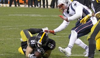 "FILE - In this Sunday, Dec. 17, 2017, file photo, Pittsburgh Steelers tight end Jesse James (81) loses his grip on the football after crossing the goal line on a pass play against the New England Patriots in the closing seconds of the fourth quarter of an NFL football game in Pittsburgh. While coaches, players, fans and broadcasters become puzzled or annoyed by the NFL's ""catch rule,"" the people in charge of developing and refining it through the years also have struggled. (AP Photo/Don Wright, File)"