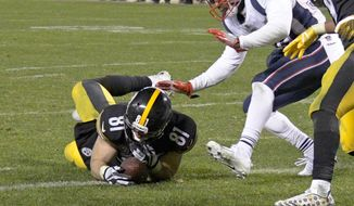 FILE - In this Sunday, Dec. 17, 2017, file photo, Pittsburgh Steelers tight end Jesse James (81) loses his grip on the football after crossing the goal line on a pass play against the New England Patriots in the closing seconds of the fourth quarter of an NFL football game in Pittsburgh. While coaches, players, fans and broadcasters become puzzled or annoyed by the NFL's 'catch rule,' the people in charge of developing and refining it through the years also have struggled. (AP Photo/Don Wright) ** FILE **