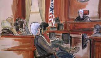 In this courtroom drawing, Judge Richard Berman addresses the jury at the end of the day's deliberations in the corruption trial of Halkbank executive Mehmet Hakan Atilla, Friday, Dec. 22, 2017. Atilla is charged with helping Iran overcome U.S. economic sanctions to launder billions of dollars through world banks, including banks in the United States. Jury deliberations resume on Wednesday, Jan. 3, 2018. (Elizabeth Williams via AP)