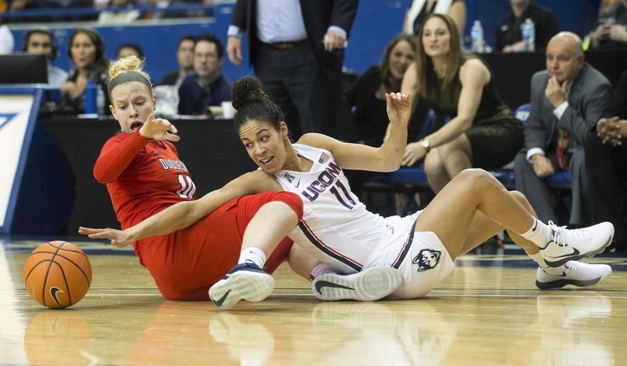 Connecticut's Kia Nurse, right, battles for the ball with Duquesne's Paige Cannon during first-half NCAA college basketball game action in Toronto, Friday, Dec. 22, 2017. (Chris Young/The Canadian Press via AP)