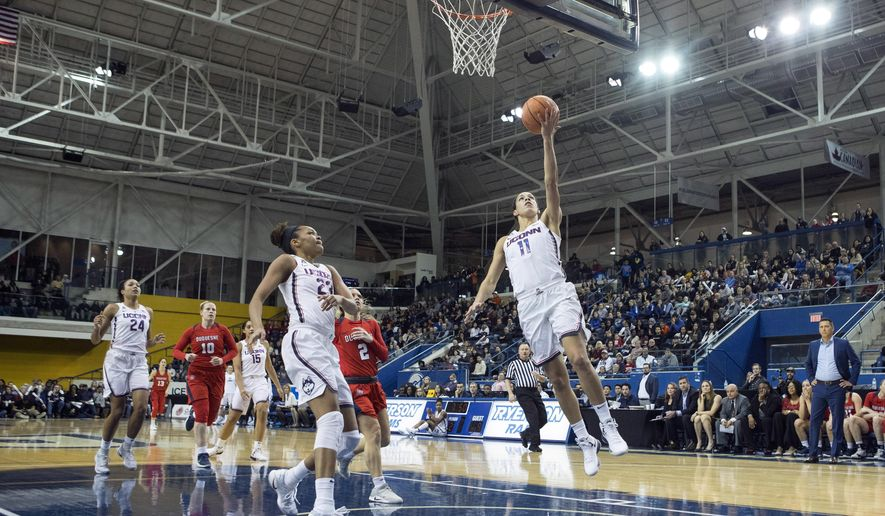 Connecticut's Kia Nurse, front right, scores during first-half NCAA college basketball game action against Duquesne in Toronto, Friday, Dec. 22, 2017. (Chris Young/The Canadian Press via AP)
