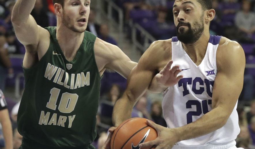 TCU guard Alex Robinson (25) drives against William & Mary guard Connor Burchfield (10) during the first half of an NCAA college basketball game in Fort Worth, Texas, Friday, Dec. 22, 2017. (AP Photo/LM Otero)