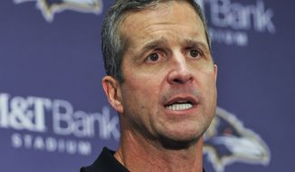 Baltimore Ravens head coach John Harbaugh answers questions during a post game press conference after an NFL football game against Indianapolis Colts in Baltimore, Saturday, Dec 23, 2017. The Ravens defeated the Colts 23-16. (AP Photo/Gail Burton)