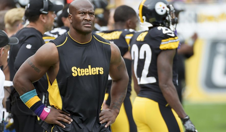In this Oct. 8, 2017, photo, Pittsburgh Steelers outside linebacker James Harrison walks the sidelines as his team plays against the Jacksonville Jaguars in an NFL football game in Pittsburgh. Harrison's long tenure with the Steelers is over. The AFC North champions released the five-time Pro Bowl linebacker and 2008 NFL defensive player of the year to make room for right tackle Marcus Gilbert. (AP Photo/Fred Vuich)