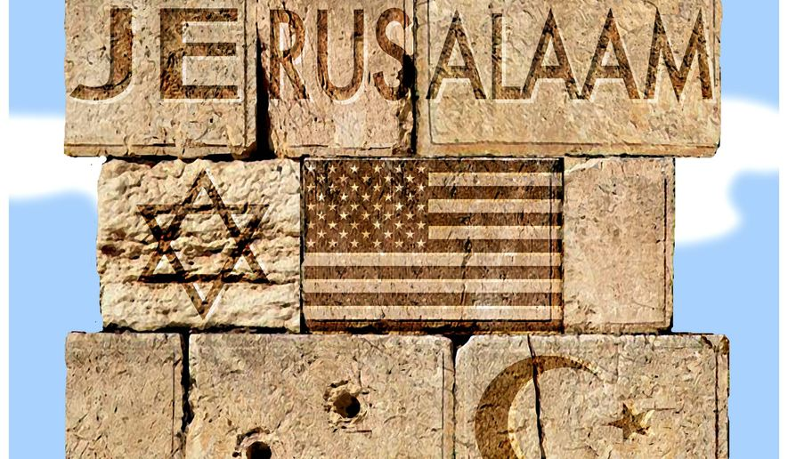 Illustration on Jerusalem by Alexander Hunter/The Washington Times