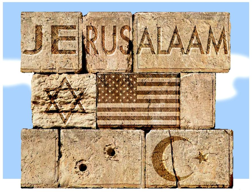 Illustration on Jerusalem by Alexander Hunter/The Washington Times