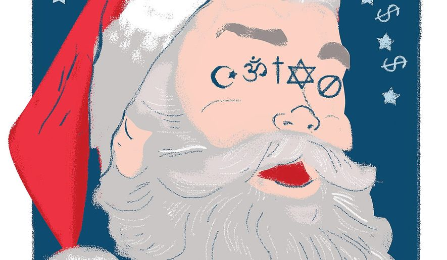 Illustration on the relationship between Christian culture and capitalism by Linas Garsys/The Washington Times