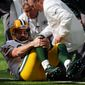 Green Bay Packers quarterback Aaron Rodgers was one of the marquee players who got injured this season, which media analysts say might have hurt TV ratings. (Associated Press/File)
