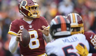 Washington Redskins quarterback Kirk Cousins (8) steps back to pass during the first half an NFL football game against the Denver Broncos in Landover, Md., Sunday, Dec 24, 2017. (AP Photo/Nick Wass)