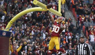 Washington Redskins wide receiver Jamison Crowder (80) celebrates his touchdown by dunking the ball over the goal posts during the first half an NFL football game against the Denver Broncos in Landover, Md., Sunday, Dec 24, 2017. (AP Photo/Alex Brandon) **FILE**