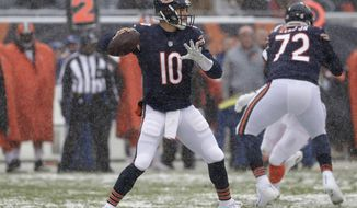 Chicago Bears quarterback Mitchell Trubisky (10) throws against the Cleveland Browns in the first half of an NFL football game in Chicago, Sunday, Dec. 24, 2017. (AP Photo/Nam Y. Huh)