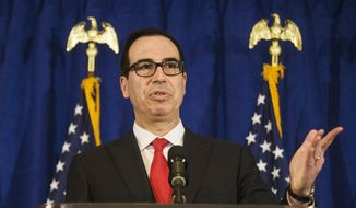 In this Sept. 21, 2017, file photo, Treasury Secretary Steve Mnuchin speaks at a news briefing at the Hilton Midtown hotel during the United Nations General Assembly, in New York. Authorities said a gift-wrapped box of horse manure addressed to Mnuchin was found near his home in Los Angeles. The package was found Saturday night, Dec. 23, in the tony Bel Air neighborhood after it was dropped off at a neighbor's house. (AP Photo/Andres Kudacki, File)