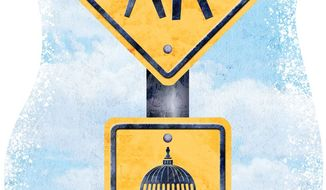 DC Pedestrian Warning Sign Illustration by Greg Groesch/The Washington Times