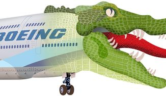 Swamp Creature Boeing Illustration by Greg Groesch/The Washington Times