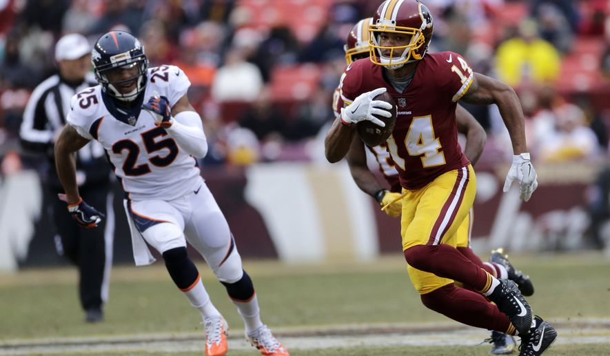 Washington Redskins wide receiver Ryan Grant (14) runs the ball against Denver Broncos cornerback Chris Harris (25) during an NFL football game between the Denver Broncos and Washington Redskins, Sunday, Dec. 24, 2017, in Landover, Md. (AP Photo/Mark Tenally)
