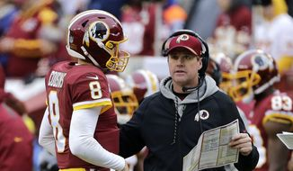 Washington Redskins quarterback Kirk Cousins (left) talks with Washington Redskins head coach Jay Gruden (right) during an NFL football game against the Denver Broncos, Sunday, Dec. 24, 2017, in Landover, Md. (AP Photo/Mark Tenally)