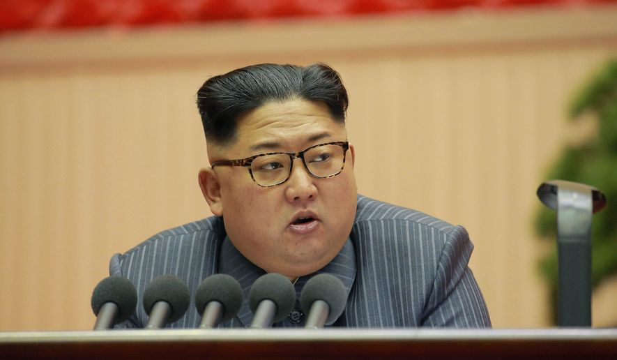In this Dec. 23, 2017, photo distributed on Dec. 24, 2017, by the North Korean government, North Korean leader Kim Jong-un addresses the conference of cell chairpersons of the ruling party in Pyongyang. (Korean Central News Agency/Korea News Service via AP) ** FILE **