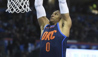 Oklahoma City Thunder's Russell Westbrook dunks the ball in the third quarter of an NBA basketball game in Oklahoma City, Monday, Dec. 25, 2017. Oklahoma City won, 112-107. (AP Photo/Kyle Phillips)