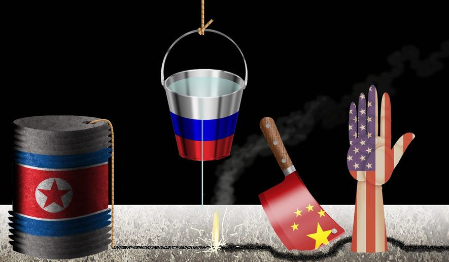 Illustration on the positive impact of Russian involvement in negotiations with North Korea by Alexander Hunter/The Washington Times