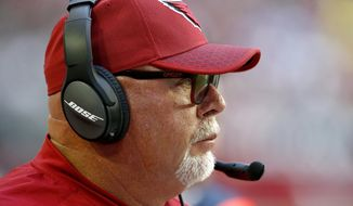 Arizona Cardinals head coach Bruce Arians watches during the first half of an NFL football game against the New York Giants, Sunday, Dec. 24, 2017, in Glendale, Ariz. (AP Photo/Ross D. Franklin) **FILE**