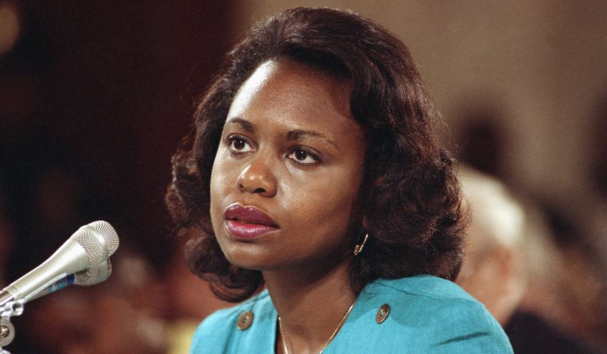 Anita Hill accused Clarence Thomas of sexual harassment in testimony at his 1991 Supreme Court confirmation hearings, but she discredited women who accused President Clinton of inappropriate behavior. (Associated Press/ File)