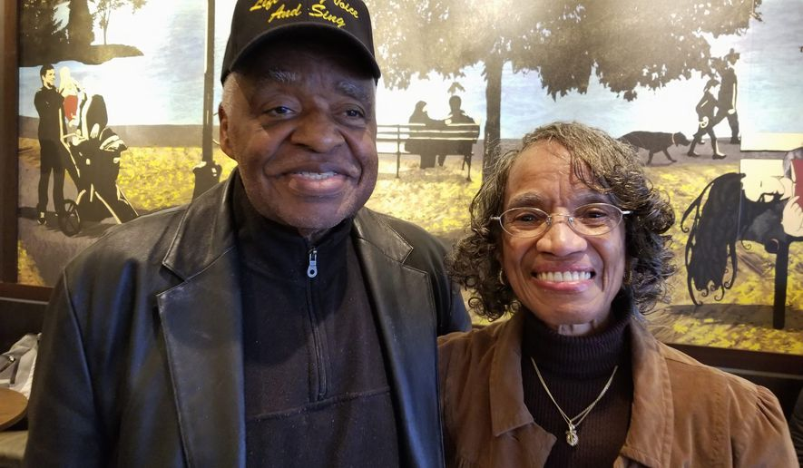 "Photos by Julia Airey / The Washington Times Caption for photo 1: Dr. Eugene Williams Sr (left) wears a ""Lift Every Voice and Sing"" hat next to his wife, Dr. Mary Johnson (right)."