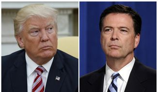 In this combination photo, President Donald Trump, left, appears in the Oval Office of the White House in Washington on May 10, 2017, and then-FBI Director James Comey appears at a news conference in Washington on June 30, 2014. (AP Photo/Evan Vucci, left, and Susan Walsh, File)