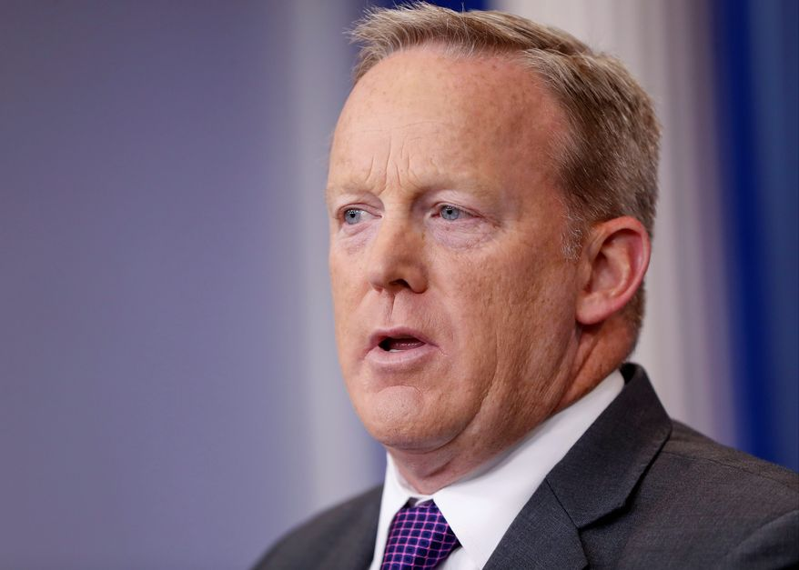 Then-White House press secretary Sean Spicer speaks to members of the media in the Brady Briefing room of the White House in Washington, Monday, July 17, 2017. (AP Photo/Pablo Martinez Monsivais) ** FILE **